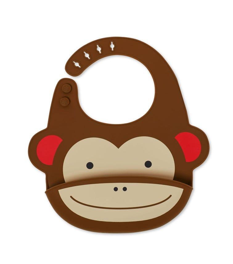 SKIP HOP Zoo Fold & Go Silicone Bib Monkey
