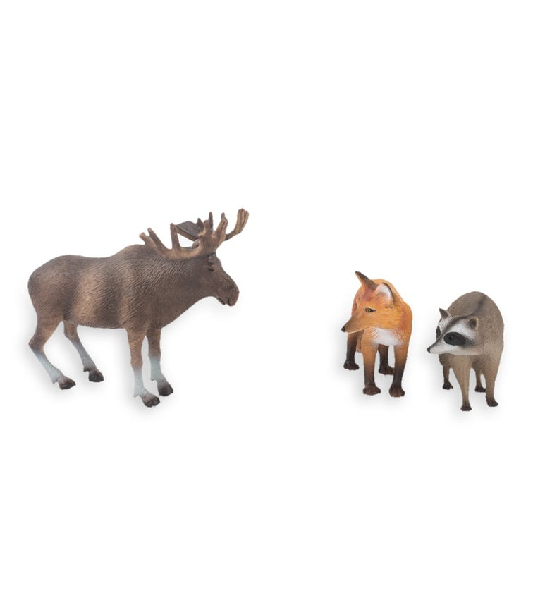 TERRA AND B TOYS Animal Collectible Figures Moose Raccoon And Fox
