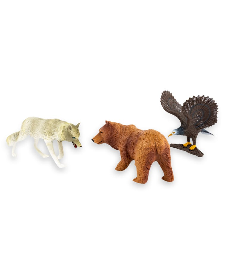 TERRA AND B TOYS Animal Collectible Figures Bald Eagle Wolf And Grizzly Bear