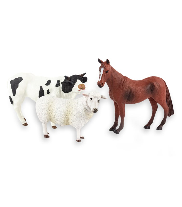 TERRA AND B TOYS Animal Collectible Figures Sheep Quarter Horse And Holstein Bull