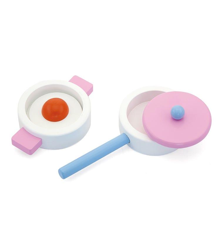 VIGA Wooden Play Food Set Pot Pan & Egg