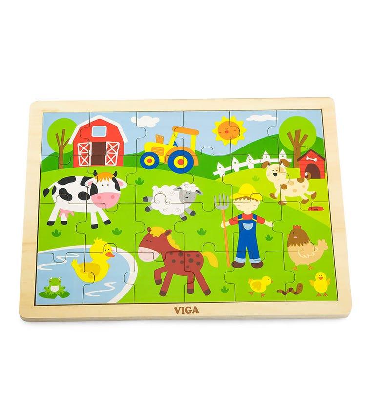 VIGA Wooden Puzzle Farm (24 Pieces)