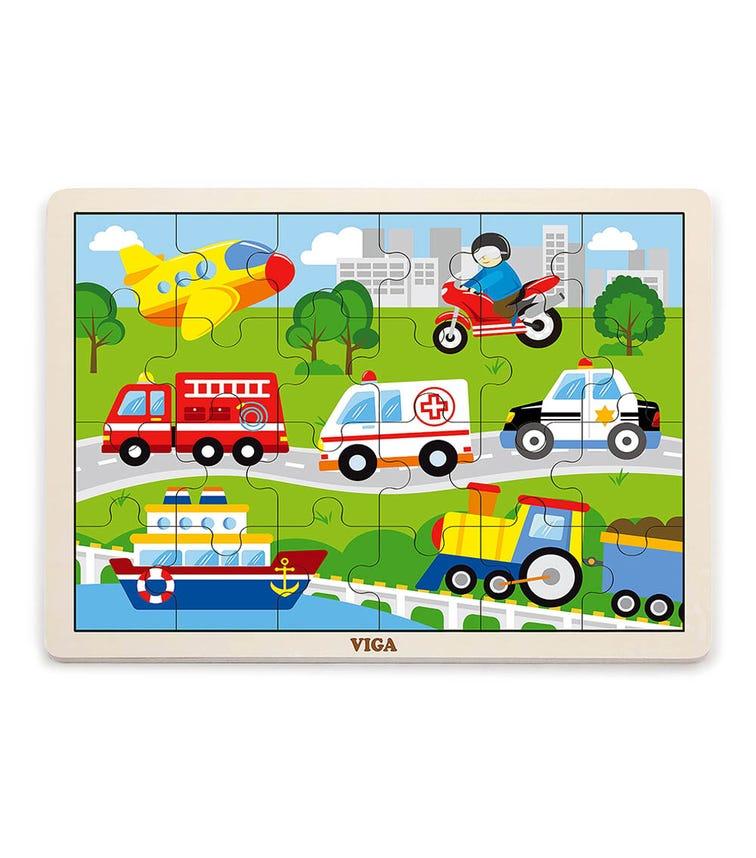 VIGA Wooden Puzzle Transport (24 Pieces)