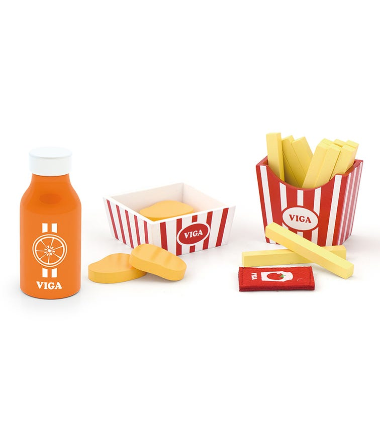 VIGA Play Food Nuggets, Fries & Juice Play Set