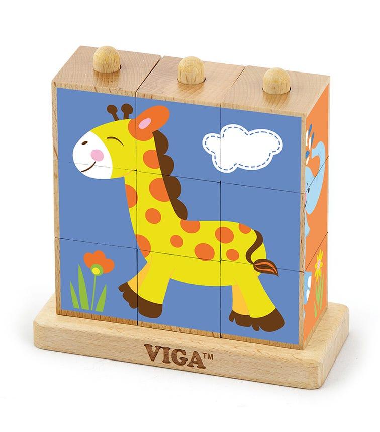 VIGA Stacking Cube Puzzle Wild Animals