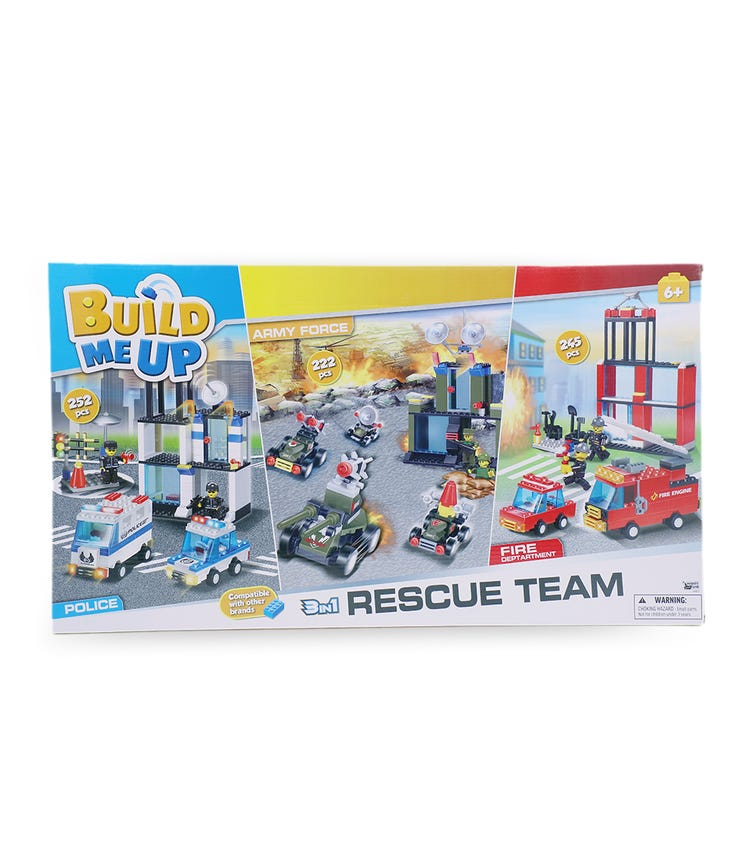 HAPPY LINE Blocks 719 Pieces - Rescue Team 3 In 1, Police, Fire Rescue, and Army Force