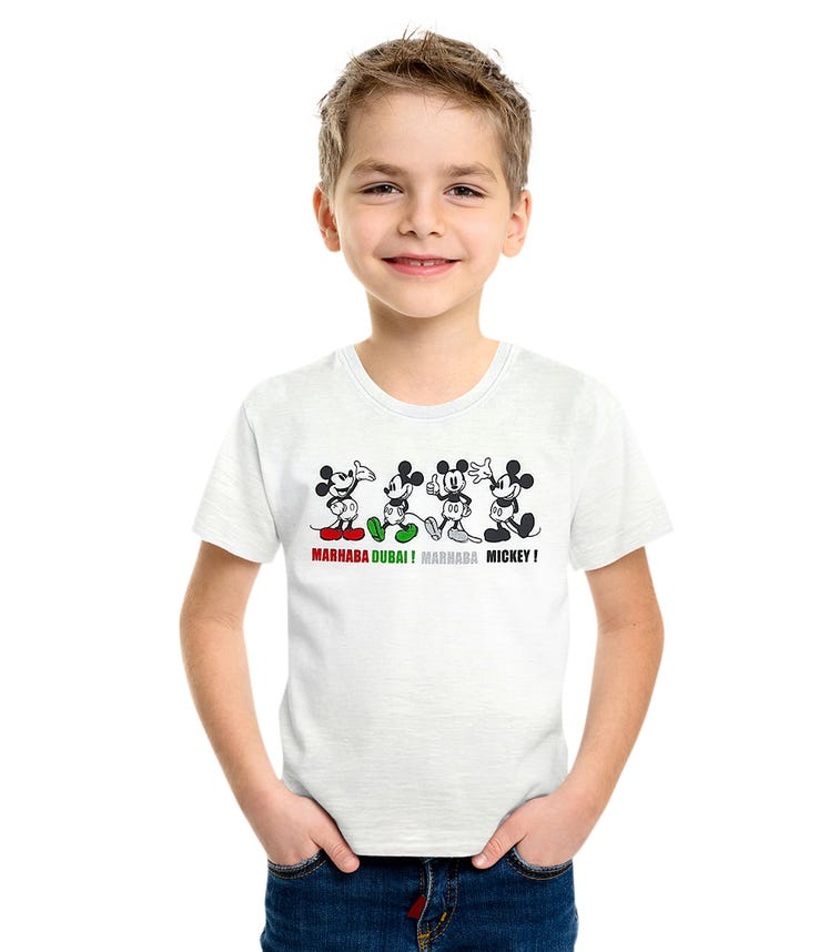 DISNEY Mickey UAE Kids Unisex T-Shirt - White