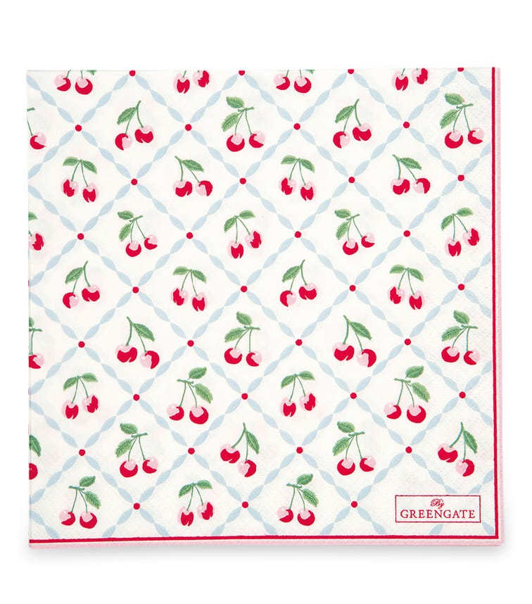 GREENGATE Napkin Cherie - White Large (20 Pieces)