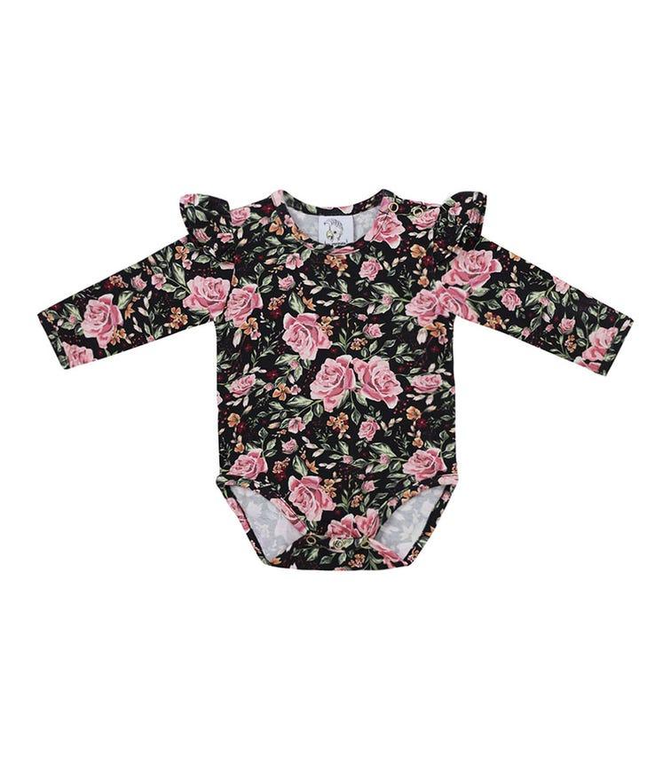 HEY POPINJAY Bodysuit With Frills Black Roses