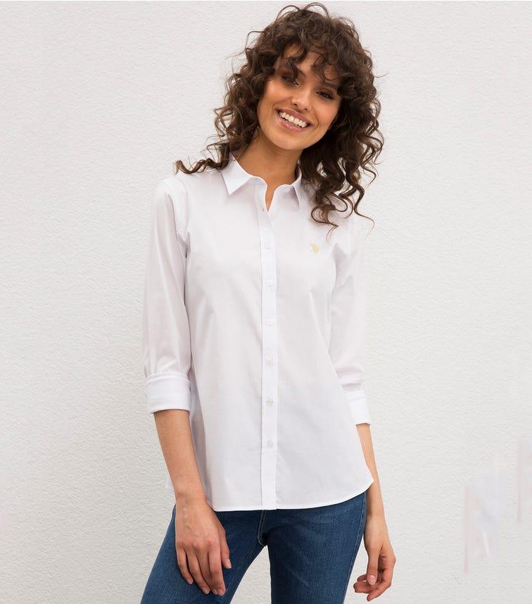 US POLO ASSN. - Ladies Essential Long Sleeve Shirt White