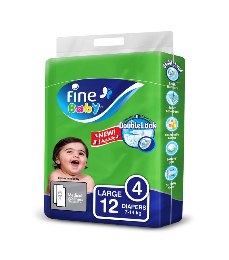 FINE BABY Diapers, Doublelock Technology That Prevents Diaper Leakage, Size 4, Large 7-14Kg, Travel Pack, 12 Diapers