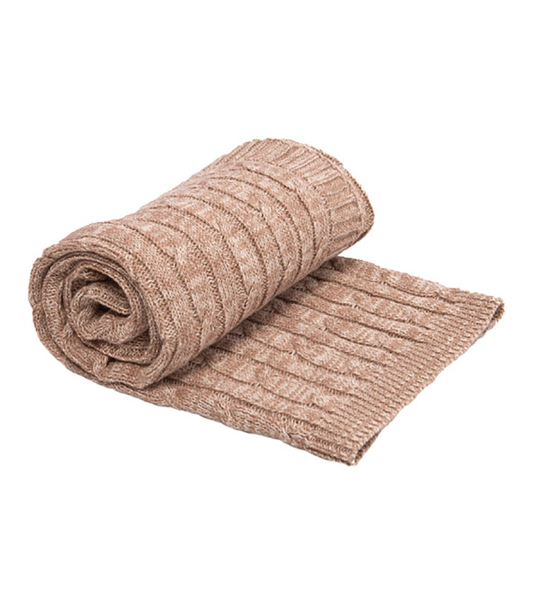 KIKKABOO Cable Knitted Blanket Melange Beige