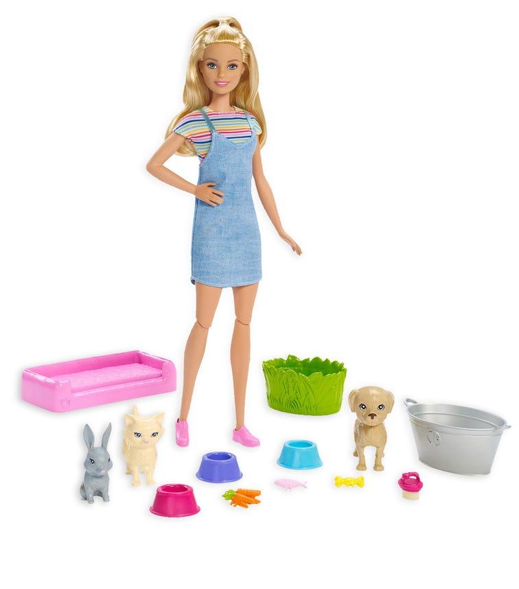 BARBIE Pets Play N Wash Doll Accessories Blonde