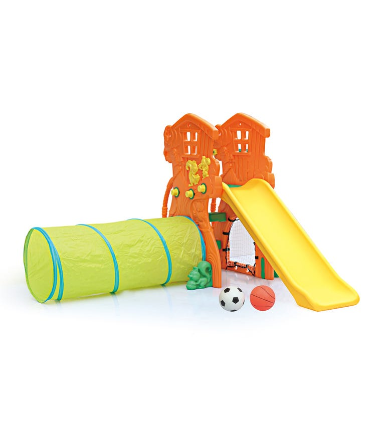 CHING CHING Tree House Slide With Basketball Set + Football Set + Tunnel