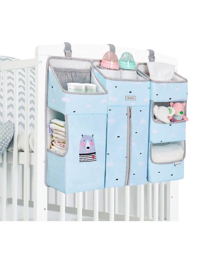 SUNVENO Baby Bedside Portable Crib Organizer - Blue