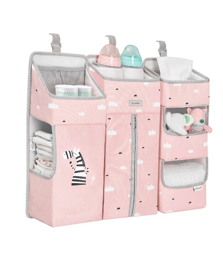 SUNVENO Baby Bedside Portable Crib Organizer - Pink