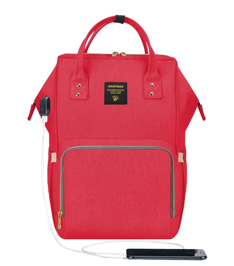 SUNVENO Diaper Bag With USB - Real Red