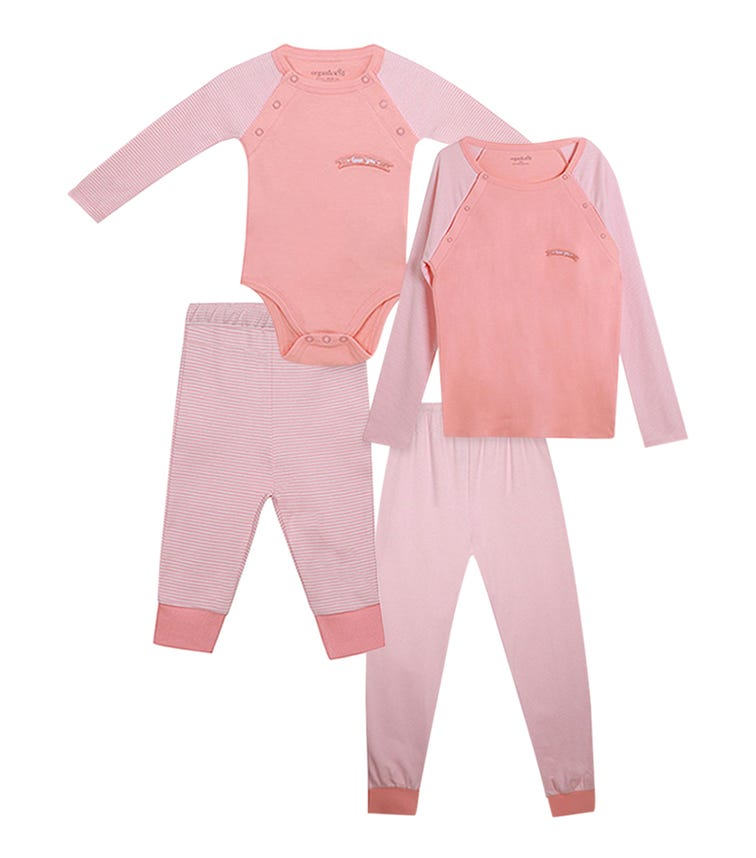 ORGANIC KID 4 Piece Set Mother And Baby Love You Arms Salmon