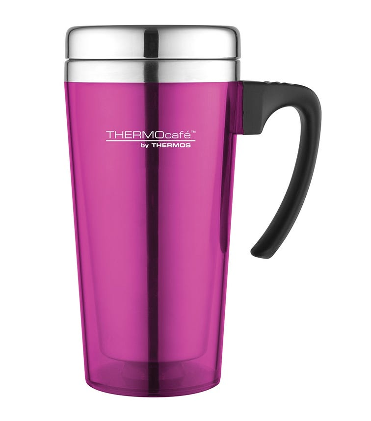 THERMOS Thermocafe Stainless Steel With Plastic Cover Drinking Mug  400 ML, Pink