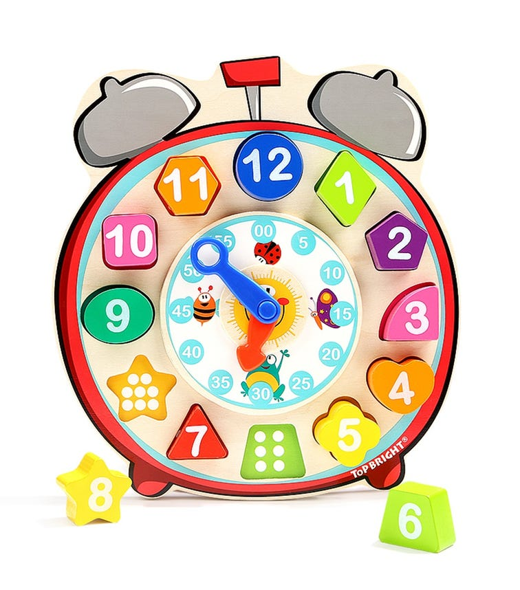 TOPBRIGHT Wooden Shape Sorting Clock