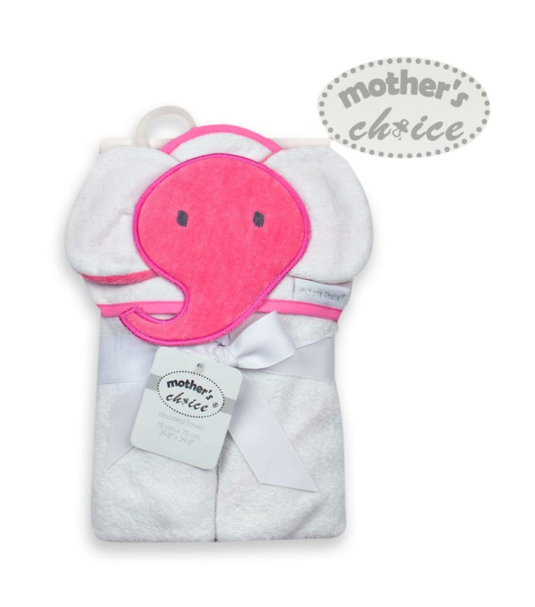 MOTHER'S CHOICE 100% Cotton And Velour 3-D Hooded Towel - Pink Elephant
