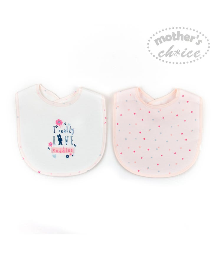 MOTHER'S CHOICE Baby 2 Pack Bibs Velcro Opening At Back