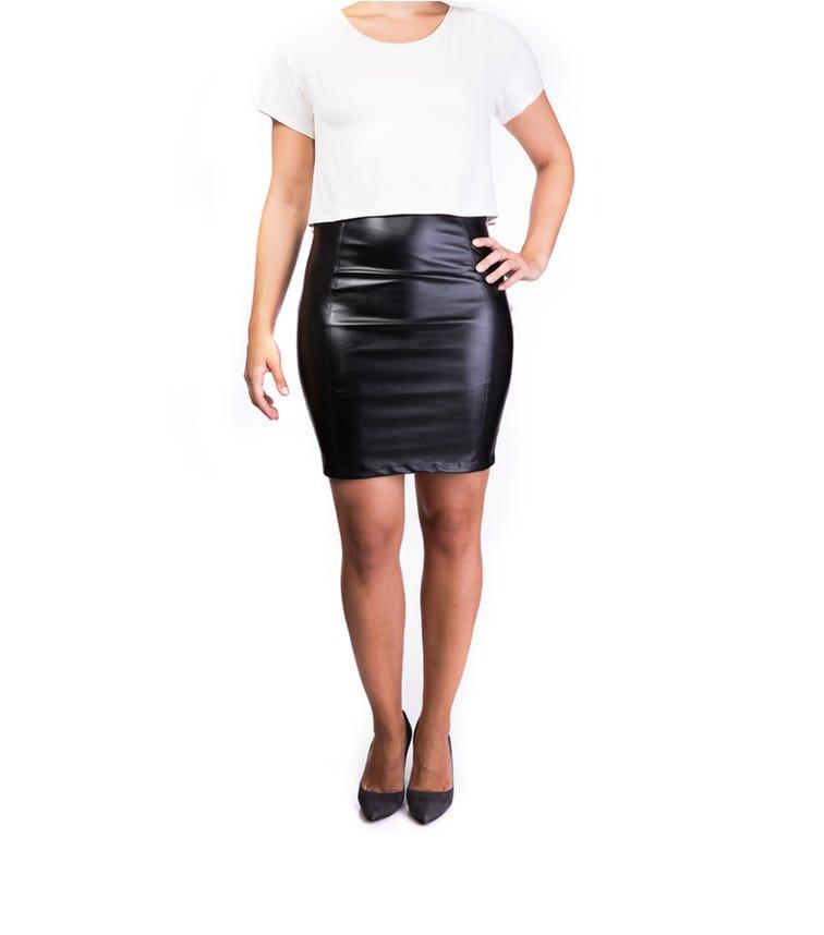 MAMA BASICS Eco Leather Skirt Nursing Dress Black