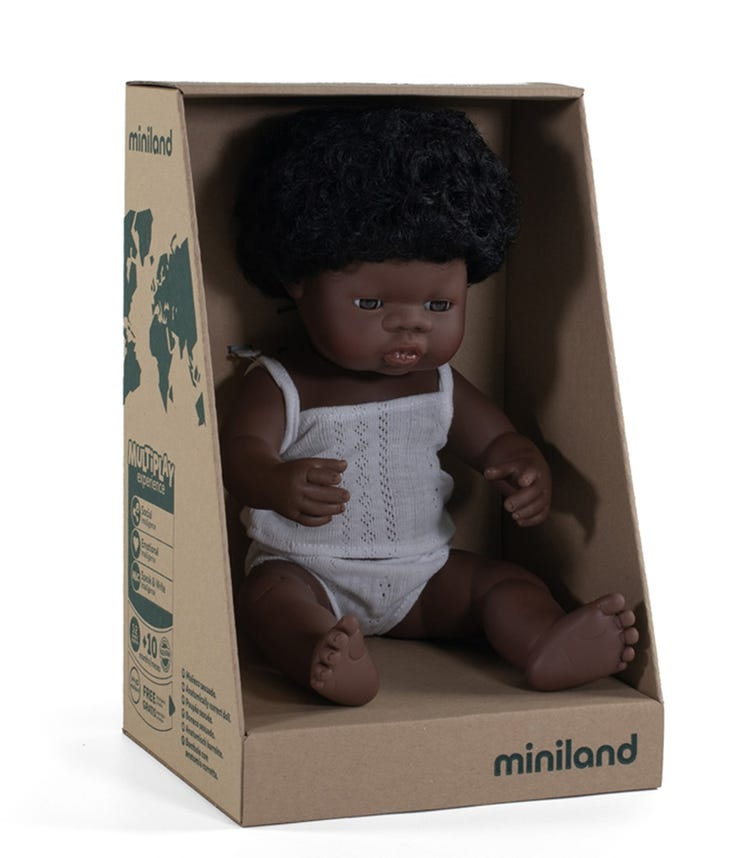 MINILAND Baby Doll African Girl 38Cm