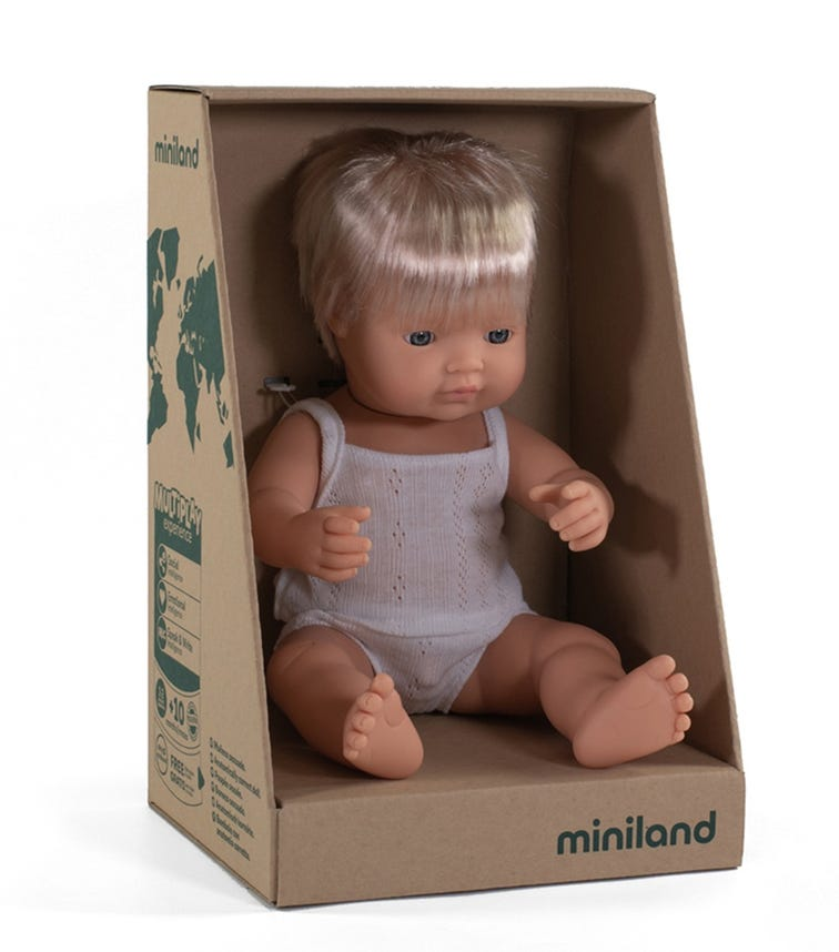 MINILAND Baby Doll Caucasian Boy 38Cm