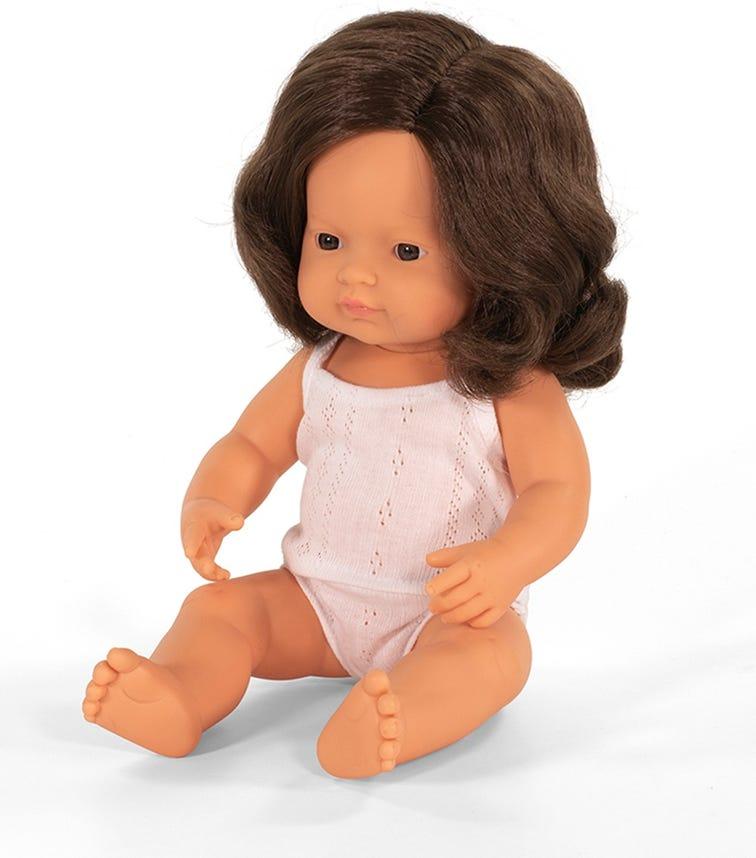 MINILAND Baby Doll Brown Hair Girl 38Cm