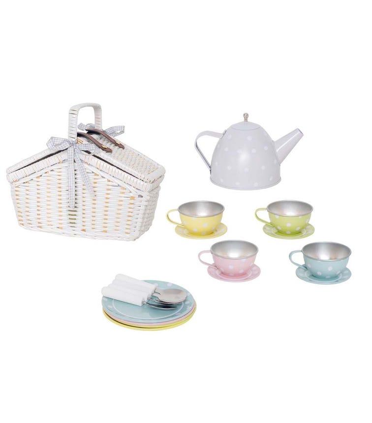 JABADABADO Picnic Basket Tin Tea Set Pastel