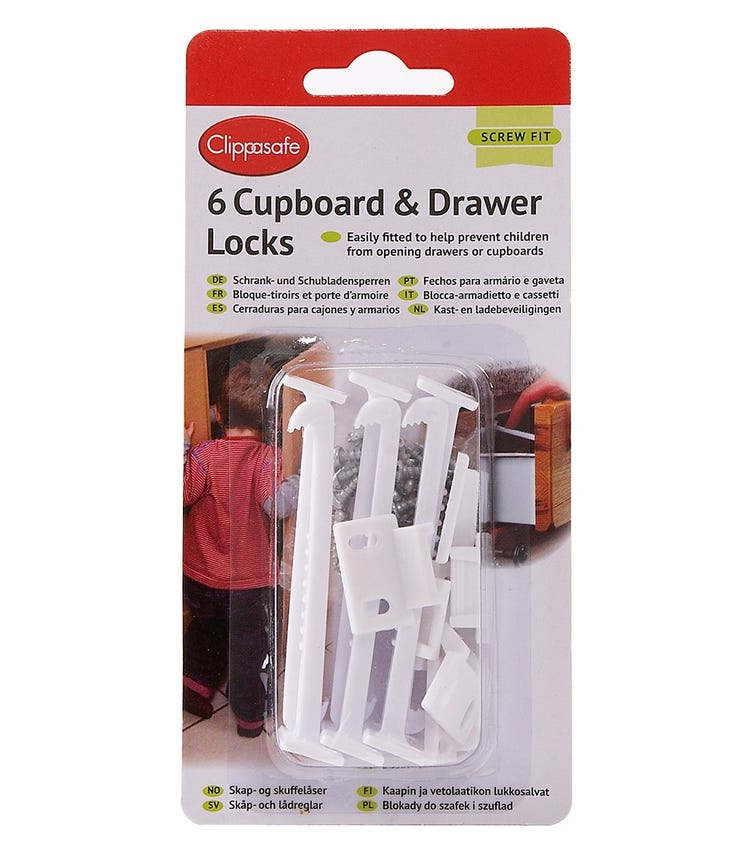 CLIPPASAFE Cupboard & Drawer Locks -  6 Pieces Per Pack