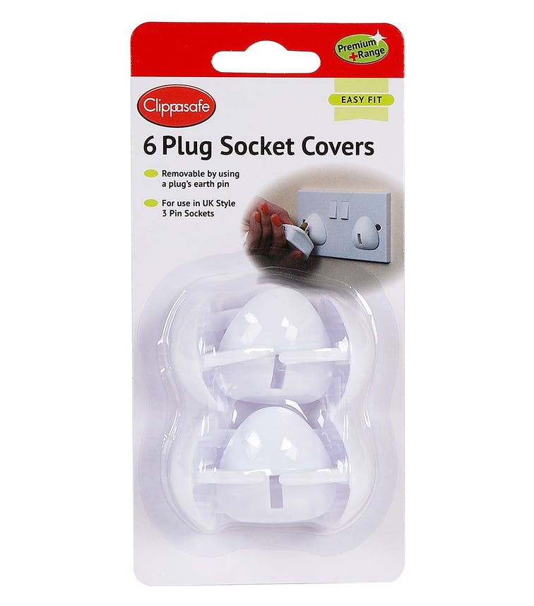 CLIPPASAFE 3 Pin Plug Socket Covers -  6 Pieces Per Pack (White)