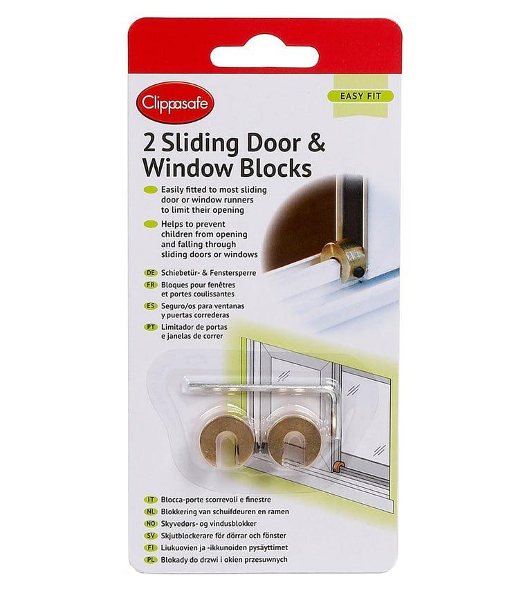 CLIPPASAFE Sliding Door & Window Blocks -  2 Pieces Per Pack (Brass)