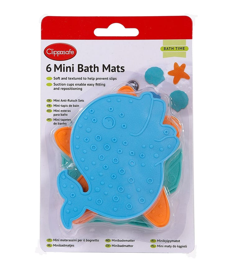 CLIPPASAFE Mini Bath Mats - 6 Pieces Per Pack - Multicolor