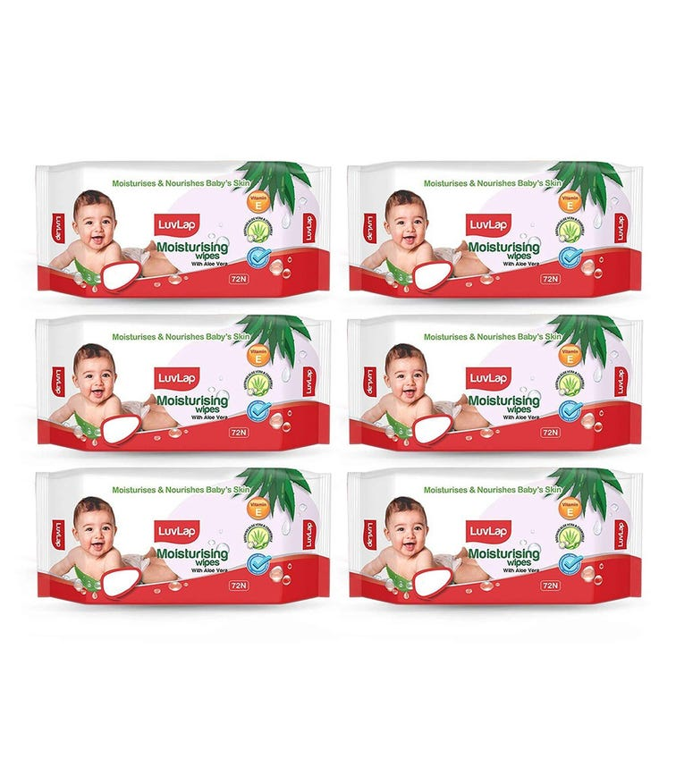 LUVLAP Paraben Free Baby Wipes With Aloe Vera (72 Wipes/Pack) (Pack Of 6)