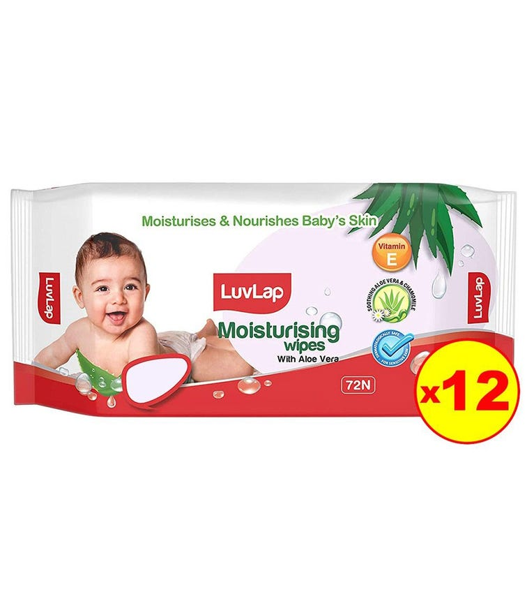 LUVLAP Paraben Free Baby Wipes With Aloe Vera (72 Wipes/Pack) (Pack Of 12)