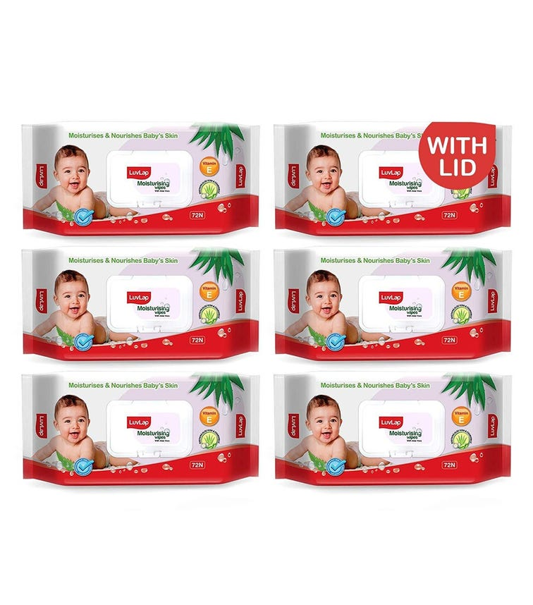 LUVLAP Paraben Free Baby Wipes With Aloe Vera, With Fliptop Lid (72 Wipes/Pack) (Pack Of 6)