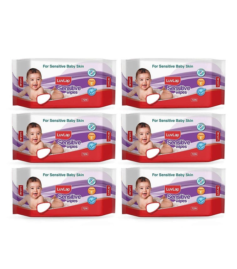 LUVLAP Paraben Free Baby Wipes For Sensitive Skin, Fragrance Free (72 Wipes/Pack) (Pack Of 6)