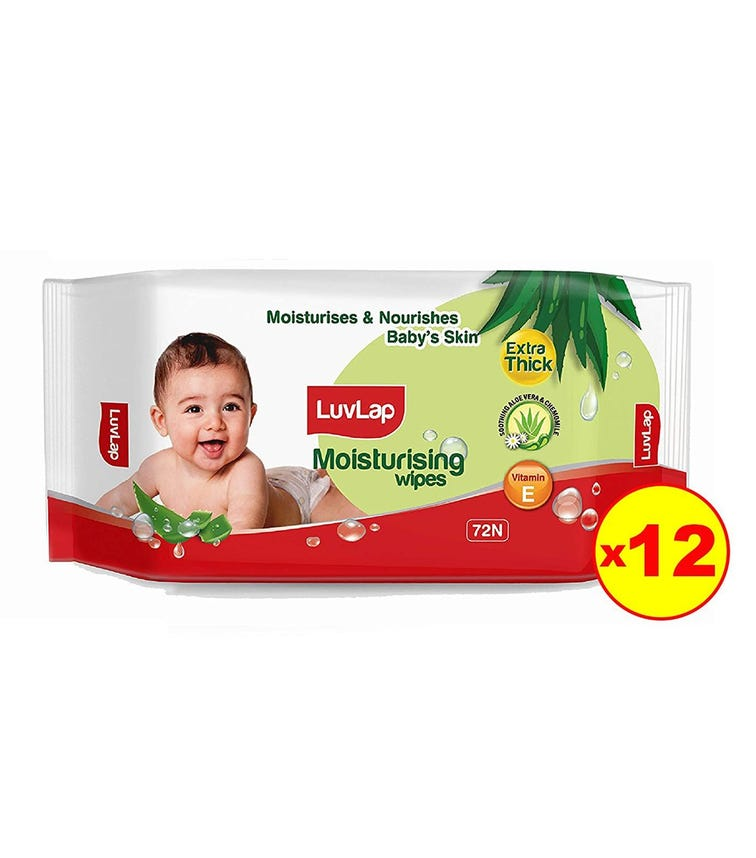 LUVLAP Paraben Free Extra Thick Baby Wipes With Aloe Vera (72 Wipes/Pack) (Pack Of 12)