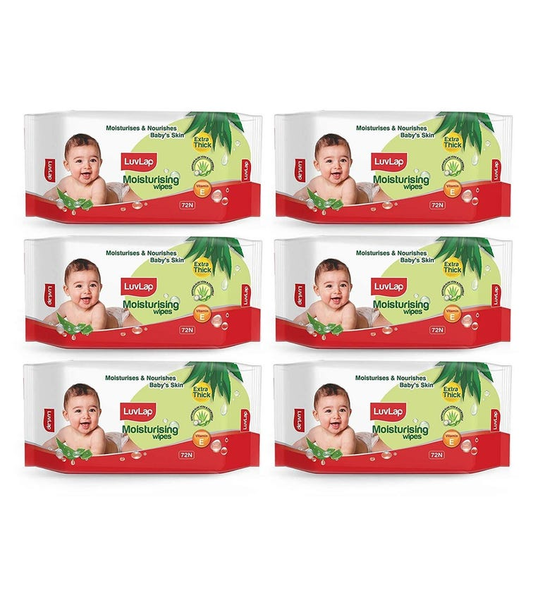 LUVLAP Paraben Free Extra Thick Baby Wipes With Aloe Vera (72 Wipes/Pack) (Pack Of 6)