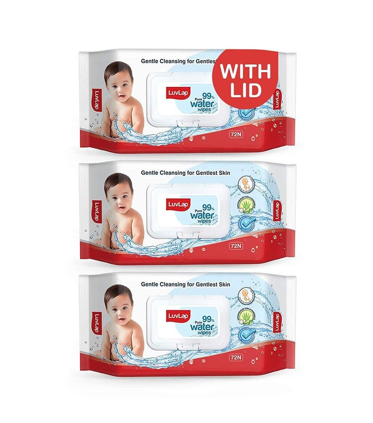LUVLAP Paraben Free 99% Pure Water Nourishing Baby Wipes, With Fliptop Lid (72 Wipes/Pack) (Pack Of 3)