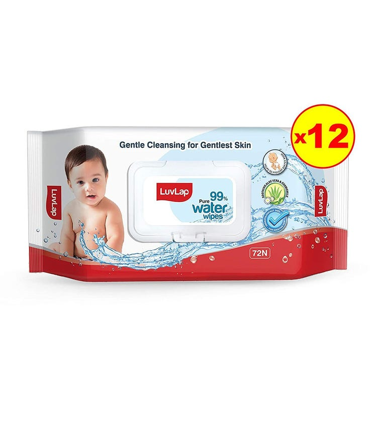 LUVLAP Paraben Free 99% Pure Water Nourishing Baby Wipes, With Fliptop Lid (72 Wipes/Pack) (Pack Of 12)