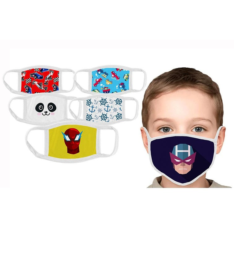 SWAYAM Reusable Cloth Face Mask For Kids, 3-7 Years (Pack Of 6)
