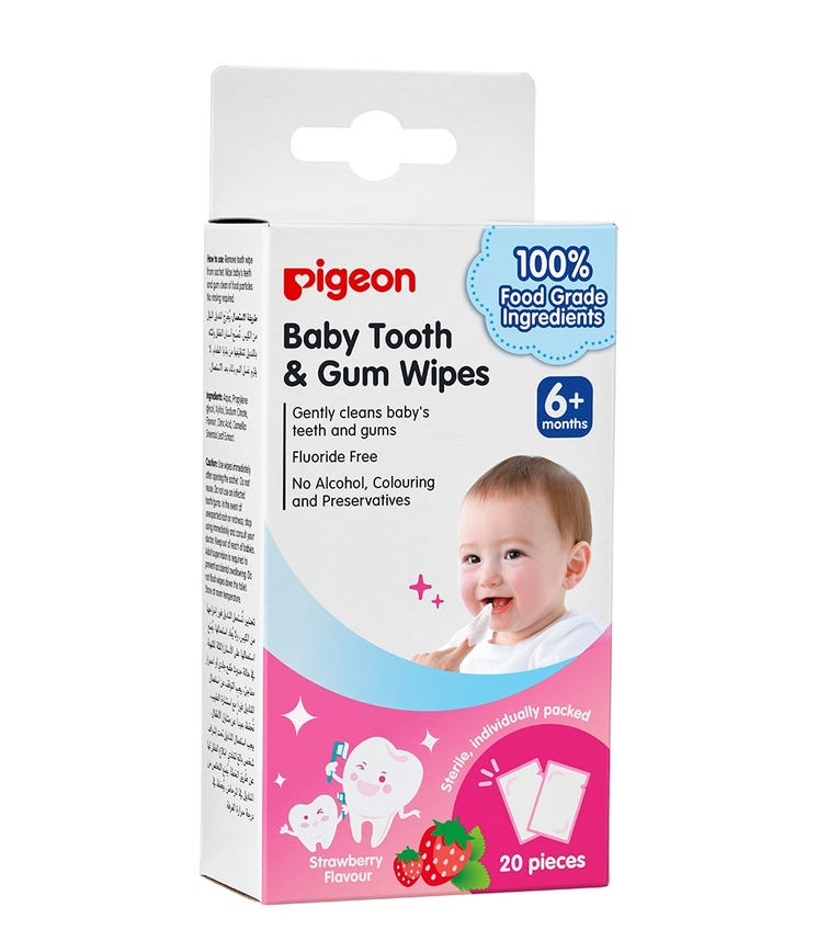 PIGEON Baby Tooth & Gum Wipes - Strawberry - 20 Pieces
