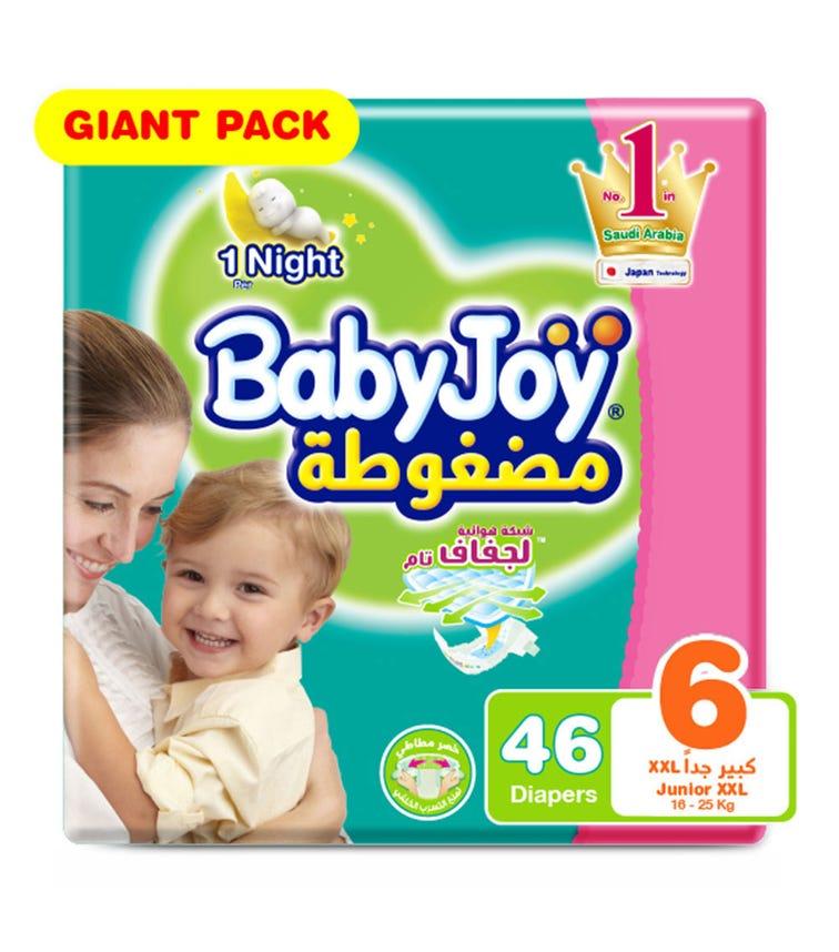 BABYJOY Compressed Diamond Pad Diaper, Giant Pack Junior (XXL), Size 6, Count 46, 16 - 25 Kg