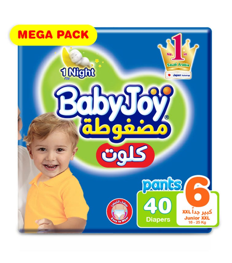 BABYJOY Cullotte Pants Diaper, Mega Pack Junior (Extra Extra Large), Size 6, Count 40, 16+ Kg