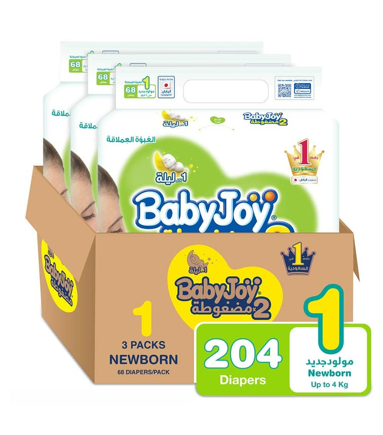 BABYJOY 2X Compressed Diaper, Jumbo Pack New Born Size 1, Count 204, Up to 4 Kg