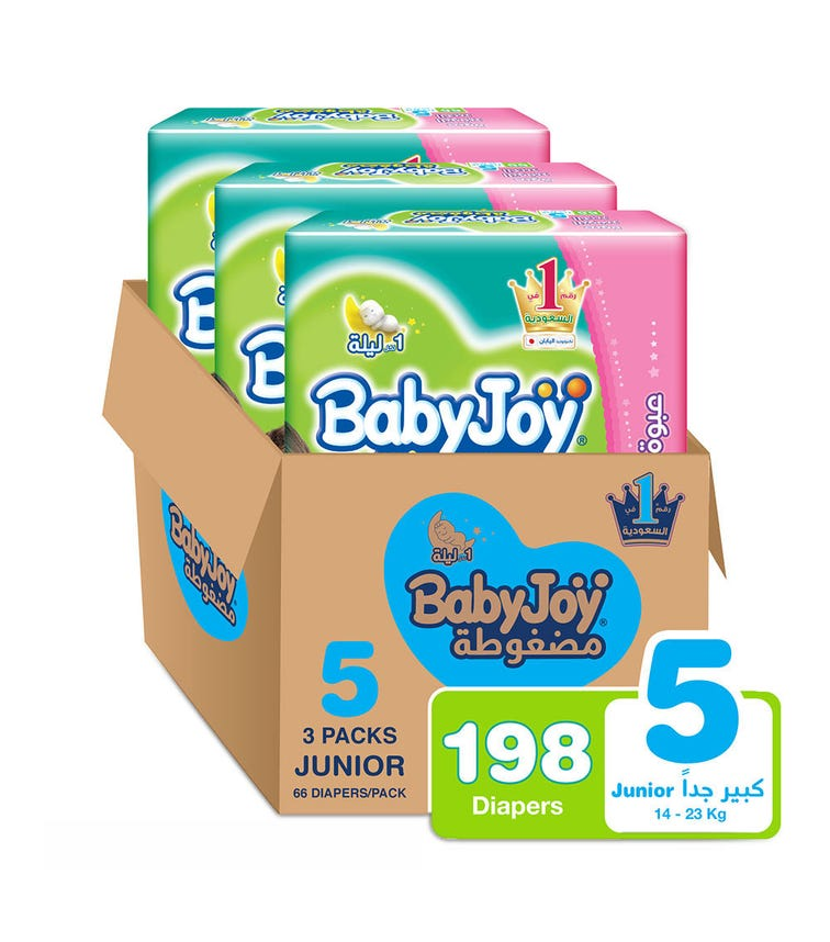 BABYJOY Compressed Diamond Pad Diaper, Giant Pack Junior Size 5, Count 198, 14 - 23 Kg