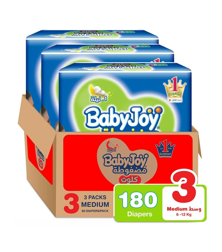 BABYJOY Cullotte Pants Diaper, Mega Pack Medium Size 3, Count 180, 6 - 12 Kg